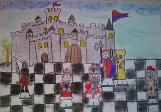 konkurs plastyczny, bajkowy świat szachów, miesięcznik mat, edukacja przez szachy w szkole, polski związek szachowy, rysunek, praca plastyczna, kurs interaktywny szachydzieciom.pl, bierki szachowe, zamek, szachownica, flagi, chmurki, drzewo,