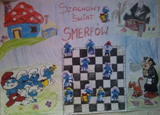 konkurs plastyczny, bajkowy świat szachów, miesięcznik mat, edukacja przez szachy w szkole, polski związek szachowy, rysunek, praca plastyczna, kurs interaktywny szachydzieciom.pl, smerfetka, memoriał mistrza czesława błaszczaka, smerfowe szachy, szachownica, partia szachowa, bierki szachowe, gargamel, klakier, wioska smerfów, zgrywus, harmoniusz, smerfiki,