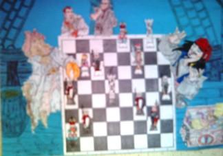 konkurs plastyczny, bajkowy świat szachów, miesięcznik mat, edukacja przez szachy w szkole, polski związek szachowy, rysunek, praca plastyczna, kurs interaktywny szachydzieciom.pl, bierki szachowe, szachownica, piraci, statek, liny,