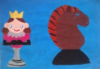 konkurs plastyczny, bajkowy świat szachów, miesięcznik mat, edukacja przez szachy w szkole, polski związek szachowy, rysunek, praca plastyczna, kurs interaktywny szachydzieciom.pl, bierki szachowe, skoczek, królowa, królówka, hetman, korona,