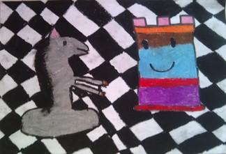 konkurs plastyczny, bajkowy świat szachów, miesięcznik mat, edukacja przez szachy w szkole, polski związek szachowy, rysunek, praca plastyczna, kurs interaktywny szachydzieciom.pl, szachownica, bierki szachowe, skoczek, wieża,