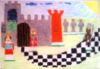 konkurs plastyczny, bajkowy świat szachów, miesięcznik mat, edukacja przez szachy w szkole, polski związek szachowy, rysunek, praca plastyczna, kurs interaktywny szachydzieciom.pl, bierki szachowe, zamek, szachownica, chmurki, słoneczko, droga,