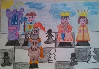 konkurs plastyczny, bajkowy świat szachów, miesięcznik mat, edukacja przez szachy w szkole, polski związek szachowy, rysunek, praca plastyczna, kurs interaktywny szachydzieciom.pl, bierki szachowe, szachownica, chmurki, słoneczko,