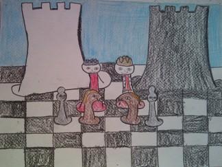 konkurs plastyczny, bajkowy świat szachów, miesięcznik mat, edukacja przez szachy w szkole, polski związek szachowy, rysunek, praca plastyczna, kurs interaktywny szachydzieciom.pl, dwie wieże, szachownica, bierki szachowe, partia szachowa, w rolach głównych wystąpili,