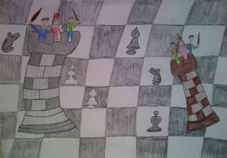 konkurs plastyczny, bajkowy świat szachów, miesięcznik mat, edukacja przez szachy w szkole, polski związek szachowy, rysunek, praca plastyczna, kurs interaktywny szachydzieciom.pl, dwie wieże, szachownica, bierki szachowe, partia szachowa,
