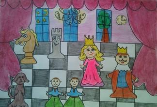 konkurs plastyczny, bajkowy świat szachów, miesięcznik mat, edukacja przez szachy w szkole, polski związek szachowy, rysunek, praca plastyczna, kurs interaktywny szachydzieciom.pl, bierki szachowe, szachownica, zegar, drzewo, księżyc, gwiazdy, zasłony,