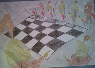 konkurs plastyczny, bajkowy świat szachów, miesięcznik mat, edukacja przez szachy w szkole, polski związek szachowy, rysunek, praca plastyczna, kurs interaktywny szachydzieciom.pl, bierki szachowe, szachownica,
