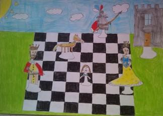konkurs plastyczny, bajkowy świat szachów, miesięcznik mat, edukacja przez szachy w szkole, polski związek szachowy, rysunek, praca plastyczna, kurs interaktywny szachydzieciom.pl, bierki szachowe, szachownica, słoneczko, chmurki,