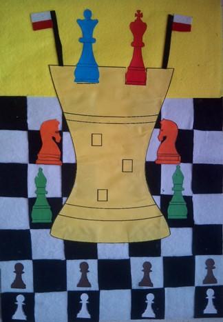 konkurs plastyczny, bajkowy świat szachów, miesięcznik mat, edukacja przez szachy w szkole, polski związek szachowy, rysunek, praca plastyczna, kurs interaktywny szachydzieciom.pl, szachownica, polskie flagi, wielka wieża, bierki szachowe,
