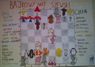 konkurs plastyczny, bajkowy świat szachów, miesięcznik mat, edukacja przez szachy w szkole, polski związek szachowy, rysunek, praca plastyczna, kurs interaktywny szachydzieciom.pl, grzyby, bierki szachowe, mat Legala, smerf ważniak, reksio, peppa, muminek, krecik, prosiaczek, pingwinek, lisek, bybka nemo, lolek, pszczółka maja, borowik, rydz, kurka, smardz, podgrzybek, muchomor, maślak, gąska, szachownica,