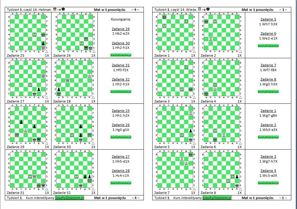 wersja do wydruku, kurs interaktywny szachydzieciom.pl, wieża, hetman, dwie wieże, zapis szachowy, diagramy szachowe apronus, widok zestawu zadań, mat w 1 posunięciu,