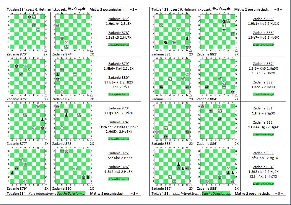 wersja do wydruku, kurs interaktywny szachydzieciom.pl, hetman i skoczek, zapis szachowy, diagramy szachowe apronus, widok zestawu zadań, mat w 2 posunięciach,