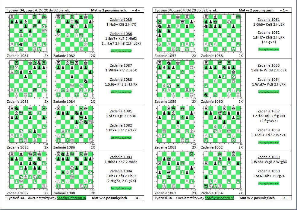 wersja do wydruku, kurs interaktywny szachydzieciom.pl, od 21 do 32 bierek, zapis szachowy, diagramy szachowe apronus, widok zestawu zadań, mat w 2 posunięciach,