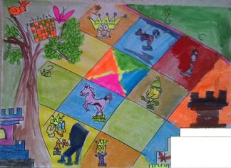 konkurs plastyczny, bajkowy świat szachów, miesięcznik mat, edukacja przez szachy w szkole, polski związek szachowy, rysunek, praca plastyczna, kurs interaktywny szachydzieciom.pl, szachownica, bierki szachowe, drzewo, tron, ptaszek,