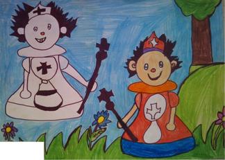 konkurs plastyczny, bajkowy świat szachów, miesięcznik mat, edukacja przez szachy w szkole, polski związek szachowy, rysunek, praca plastyczna, kurs interaktywny szachydzieciom.pl, para pionkowa, piony, bierki szachowe, pionki, łąka, drzewo, kwiatki,