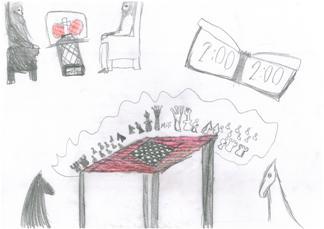 Rysunek, Amelia Kebel, 9 lat, Obóz szachowy, Sokołowsko, 4-14.07.2018,