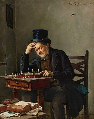 Szachista. Isidor Kaufmann (1853-1921), obraz olejny.