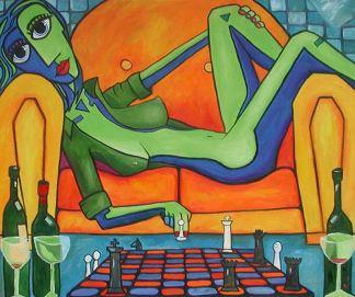 Bardzo, bardzo przyjazna gra w szachy (2004). Obraz - Glenn Payan (ur. 1962).