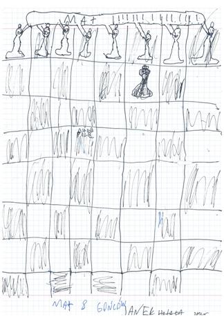 Mat 8 gońców. Rysunek - Jan Hotała (uczestnik obozu sekcji szachowej MUKS MDK Śródmieście Wrocław w Sokołowsku, 9-20.07.2016).