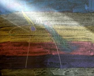 Skoczek. Rysunek - kolorową kredą na czarnej tablicy - Karolina Kublik. Zajęcia szachowe MDK Śródmieście Wrocław w SP nr 91 we Wrocławiu - środa 5.06.2019.
