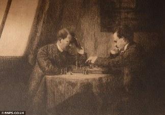Rycina z 1909 roku rzekomo przedstawiająca młodego Adolfa Hitlera grającego w Wiedniu w szachy z Leninem.