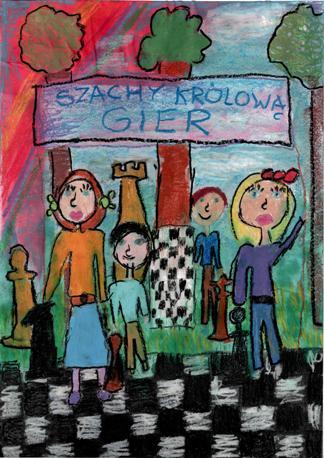Rysunek – Maja Kaszuba (9 lat, Zespół Szkół w Mrzeżynie). Konkurs KROLEWSKA GRA – SZACHY, MDK Śródmieście Wrocław, listopad 2015.