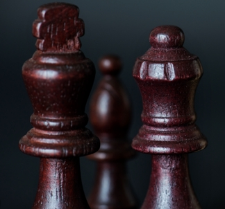 Closeup of chess pieces