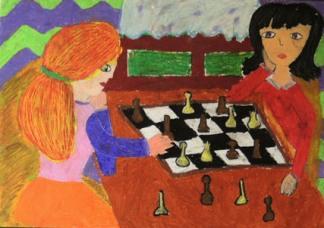 Rysunek - Emilia Rozwadowska (9 lat, Powiatowe Centrum Kultury w Nowym Targu). Konkurs KRÓLEWSKA GRA - SZACHY, listopad 2015. Fot. Anna Szuleszko.