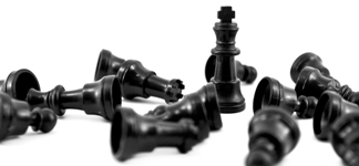 Black chess king, the most of strength isolated on white background