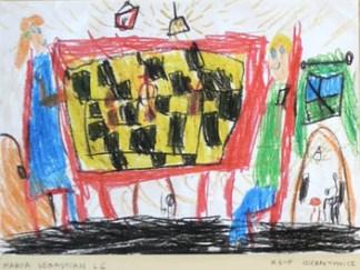 Rysunek - Marta Sebastian (6 lat, Zespół Szkolno-Przedszkolny w Gierałtowicach). Konkurs KRÓLEWSKA GRA - SZACHY, MDK Śródmieście Wrocław, listopad 2015.