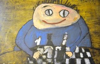 """Rysunek - Hanna Owczarek (7 lat, Świetlica Osiedlowa """"Kowale"""" we Wrocławiu). Konkurs KRÓLEWSKA GRA - SZACHY (wyróżnienie), MDK Śródmieście Wrocław, listopad 2015. Fot. Beata Bombała."""