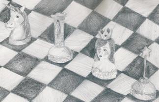 Autorka rysunku - Julia Huzarska, lat 17 (Młodzieżowy Dom Kultury Śródmieście we Wrocławiu, pracownia plastyczna Bartosza Hęćki).