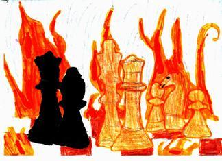 Szachy to walka! Autorka rysunku - Kinga Merska (uczennica Szkoły Podstawowej nr 58 im. Wandy Rutkiewicz we Wrocławiu).