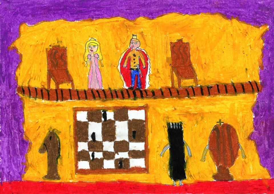 Rysunek - Joanna Nowakowska (11 lat, Zespół Szkół Publicznych nr 3 w Żyrardowie). Konkurs KRÓLEWSKA GRA - SZACHY, MDK Śródmieście Wrocław, listopad 2015.