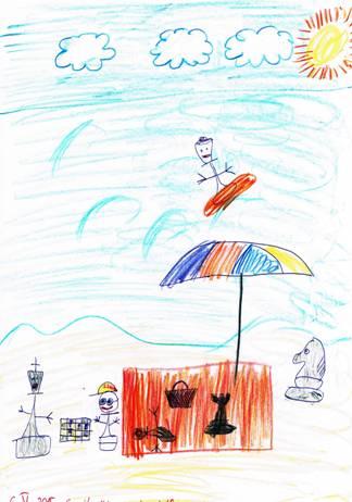 Szachowe wakacje. Autor rysunku: Emil Krawczyk (uczeń Szkoły Podstawowej nr 91 im. Orląt Lwowskich we Wrocławiu).