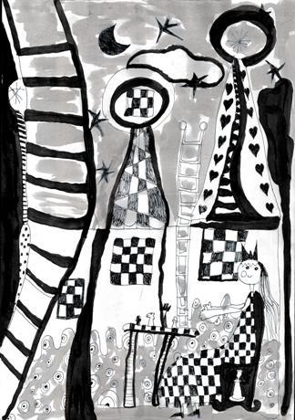 Rysunek - Natalia Szymanowicz (7 lat, Zespół Szkół w Mrzeżynie). Konkurs KRÓLEWSKA GRA - SZACHY, MDK Śródmieście Wrocław, listopad 2015.