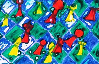 Do szachów potrzebna jest wyobraźnia! Autorka rysunku - Weronika Jędrzejewska, lat 10 (Młodzieżowy Dom Kultury we Wrocławiu, pracownia plastyczna Bartosza Hęćki).