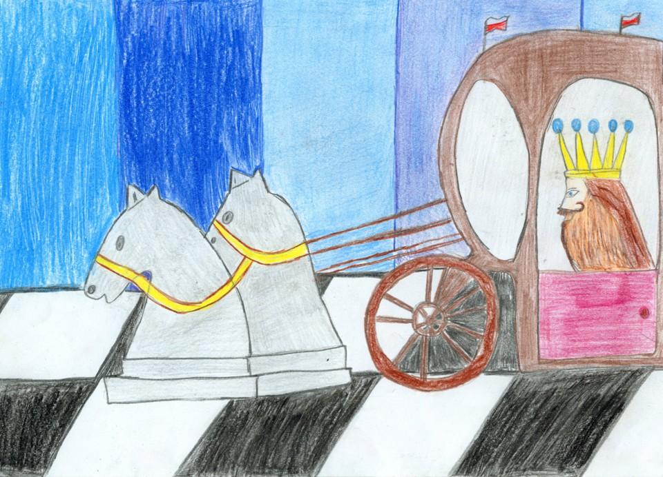 Rysunek – Maciej Bielak (12 lat, Zespół Szkół Publicznych nr 3 w Żyrardowie). Konkurs KRÓLEWSKA GRA – SZACHY, MDK Śródmieście Wrocław, listopad 2015.