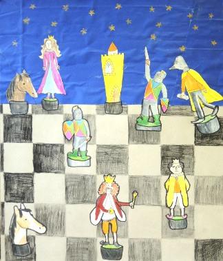 Rysunek - Anna Piątkowska (9 lat, Szkoła Podstawowa w Kamionkach). Konkurs KRÓLEWSKA GRA - SZACHY, listopad 2015. Fot. Anna Szuleszko.