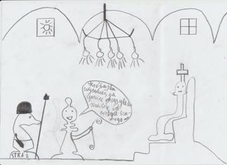 Goniec przed obliczem Króla. Rysunek - Damian Prędota (uczeń Gimnazjum nr 13 im. Unii Europejskiej we Wrocławiu).