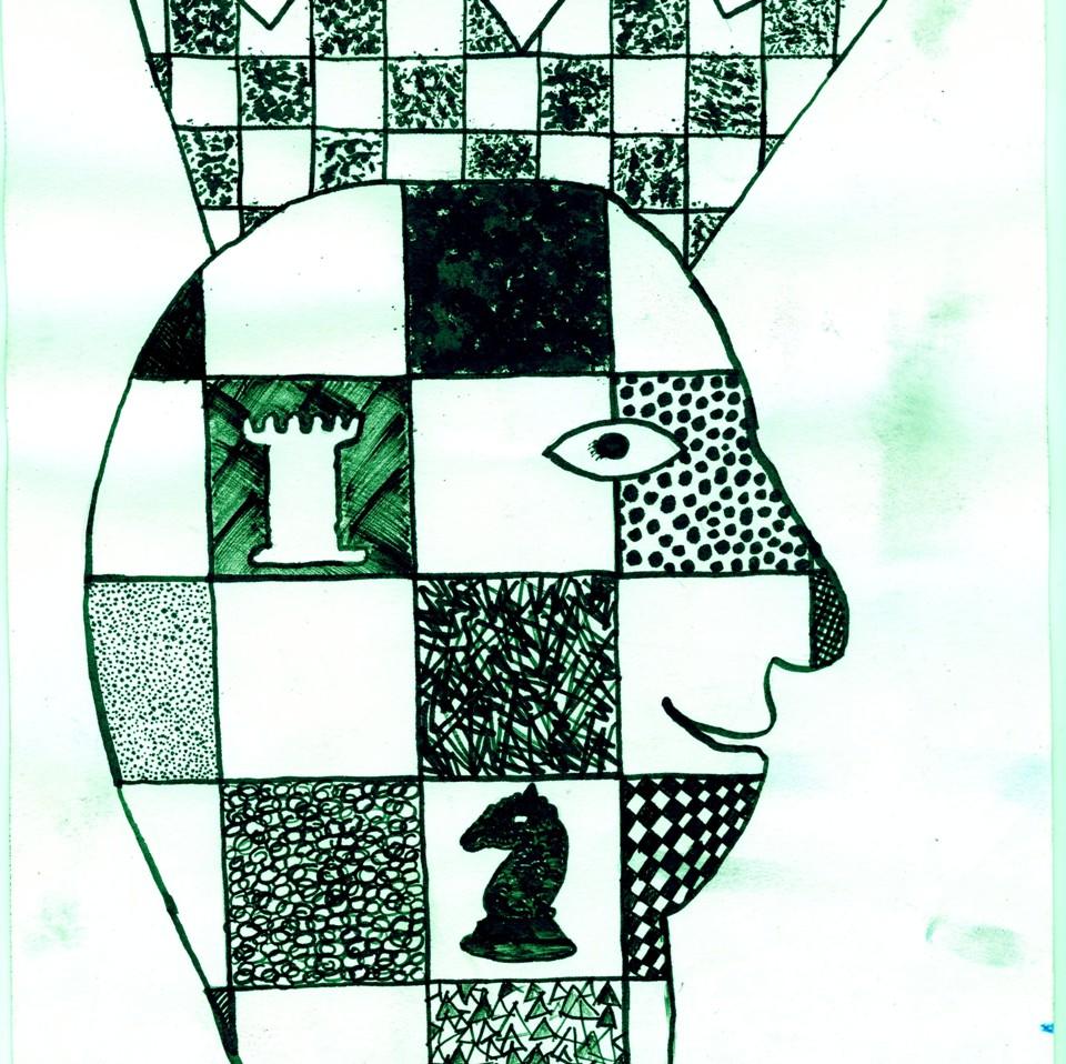 Rysunek – Monika Świgost (10 lat, Szkoła Podstawowa w Marcinowicach). Konkurs KRÓLEWSKA GRA – SZACHY, MDK Śródmieście Wrocław, listopad 2015.