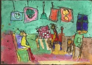 Rysunek - Jordan Rżany (7 lat, Społeczna Szkoła Podstawowa SE w Gorzowie Wlkp.). Konkurs KRÓLEWSKA GRA - SZACHY (wyróżnienie), MDK Śródmieście Wrocław, listopad 2015.