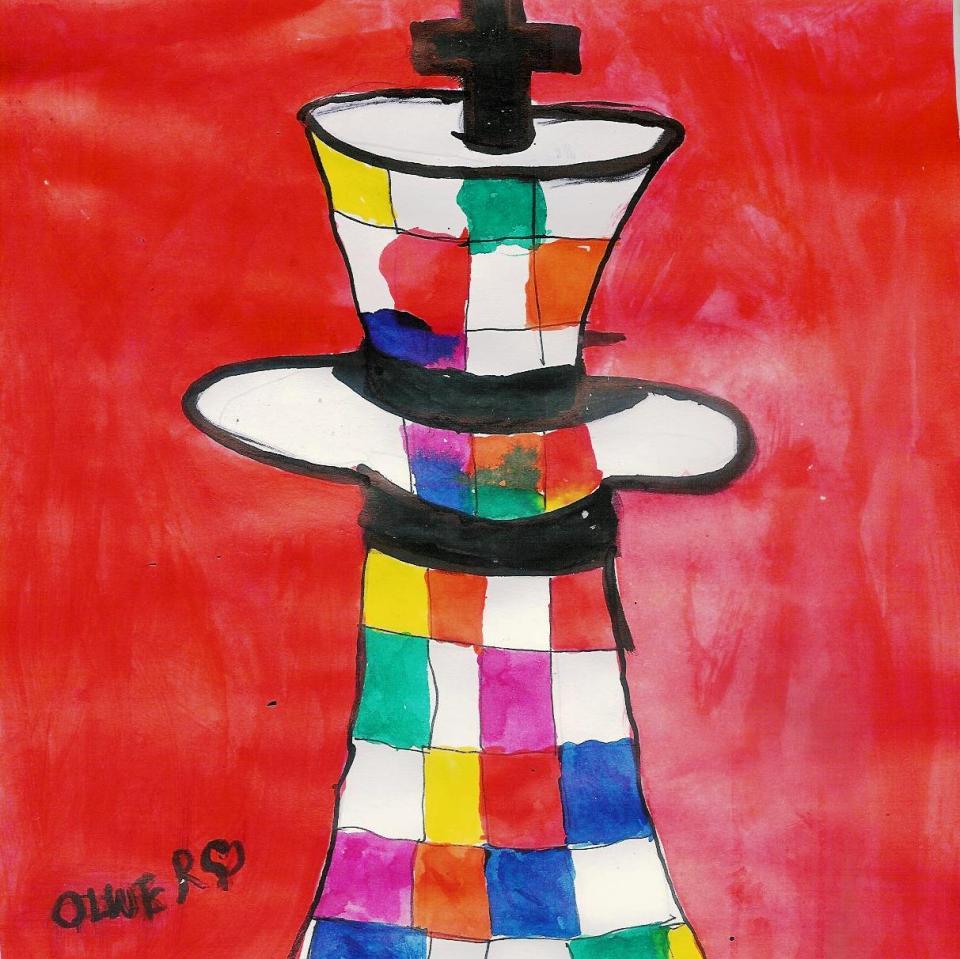 Król to magiczna figura! Rysunek - Oliwier Łuszcz, lat 8 (MDK Śródmieście Wrocław, pracownia plastyczna Bartosza Hęćki).