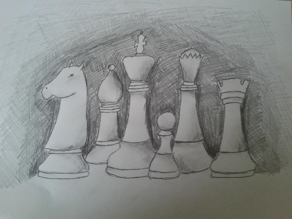 Bierki szachowe. Rysunek - Monika Zborowska (uczennica Gimnazjum nr 13 im. Unii Europejskiej we Wrocławiu).