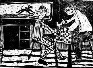 Rysunek - Jan Mrożek (15 lat, Powiatowe Centrum Kultury w Nowym Targu). Konkurs KRÓLEWSKA GRA - SZACHY, MDK Śródmieście Wrocław, listopad 2015.
