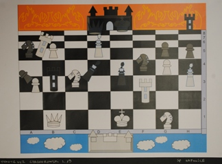 """2 Ogólnopolska Wystawa Pokonkursowa """"Królewska gra w szachy"""" 2021. Tymoteusz Czachorowski. Zdjęcie - Ewa Felsztyńska-Korpalska."""