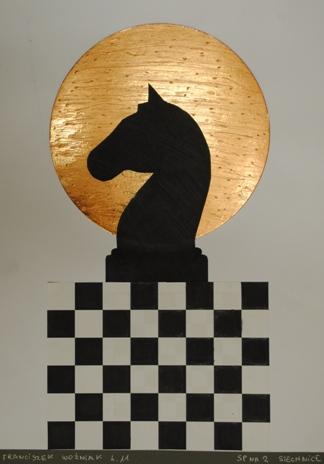 """2 Ogólnopolska Wystawa Pokonkursowa """"Królewska gra w szachy"""" 2021. Franciszek Woźniak. Zdjęcie - Ewa Felsztyńska-Korpalska."""