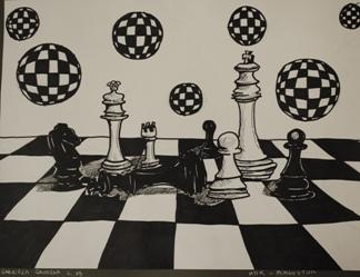 """2 Ogólnopolska Wystawa Pokonkursowa """"Królewska gra w szachy"""" 2021. Gabriela Grodzka. Zdjęcie - Ewa Felsztyńska-Korpalska."""