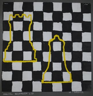 """2 Ogólnopolska Wystawa Pokonkursowa """"Królewska gra w szachy"""" 2021. Marcel Bednarek. Zdjęcie - Ewa Felsztyńska-Korpalska."""