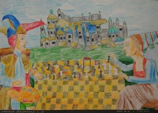 """2 Ogólnopolska Wystawa Pokonkursowa """"Królewska gra w szachy"""" 2021. Martyna Jendrysko. Zdjęcie - Ewa Felsztyńska-Korpalska."""